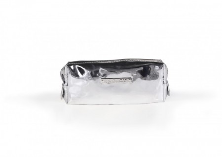 Cosmetic makeup bag mirror silver