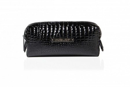 Cosmetic Bag Crocodille Leather Black