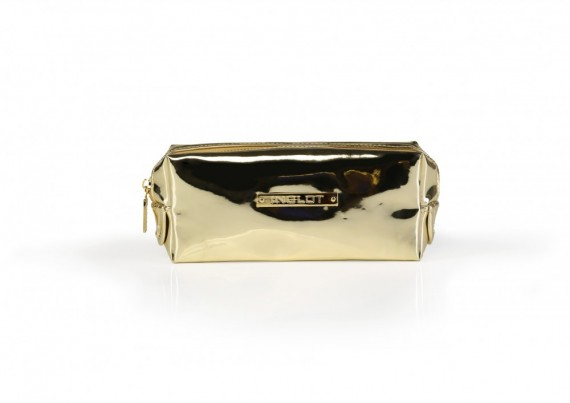Cosmetic makeup bag mirror light gold