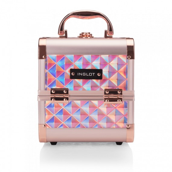 Makeup Case Diamond Mini Holographic Rose Gold