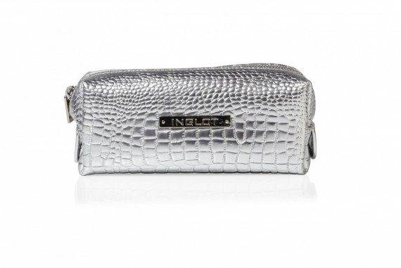 Cosmetic Bag Crocodille Leather Silver